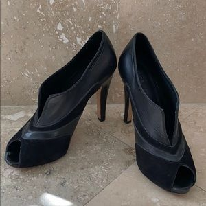 Saks Fifth Ave black suede/leather ankle booties